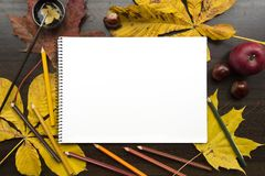 Autumn composition with empty album and fallen leaves. Autumn composition on dark surface with blank sketchbook and fallen leaves Royalty Free Stock Image