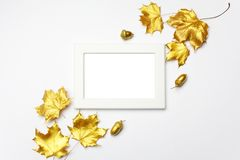 Autumn composition. Frame made of autumn golden leaves on light grey background. Flat lay, top view, copy space royalty free stock images