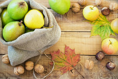 Autumn composition of fruits, nuts and spices - pears, walnuts, maple leaves Stock Image