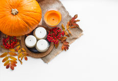 Autumn composition of fruits and vegetables on a white backgroun Stock Photo