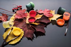 Autumn composition with leaves and paint. stock photos