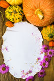 Autumn composition old postcard surrounded gifts fall Stock Image