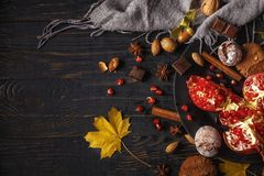 Autumn composition. Pomegranate with nuts, spices and dry leaves on a dark wooden table. Top view. Copy space stock photo