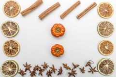 slices of dried oranges, pumpkins, anise flower and cinnamon on a white background stock image