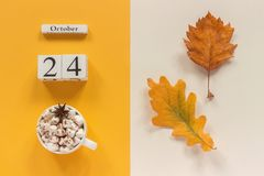 Autumn composition. Wooden calendar October 24, cup of cocoa with marshmallows and yellow autumn leaves on yellow beige background royalty free stock images