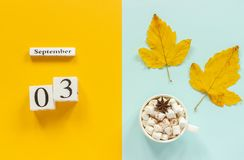 Autumn composition. Wooden calendar September 3, cup of cocoa with marshmallows and yellow autumn leaves on yellow blue. Background. Top view Flat lay Mockup royalty free stock photography