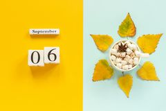 Autumn composition. Wooden calendar September 6, cup of cocoa with marshmallows and yellow autumn leaves on yellow blue. Background. Top view Flat lay Mockup royalty free stock photography