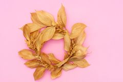 Autumn composition. Wreath made of eucalyptus branches, cotton flowers, dried leaves on pastel gray background. Autumn, fall stock photo