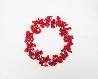 Autumn composition. Wreath made of rowan berries. Flat lay, top view, copy space.  stock photo