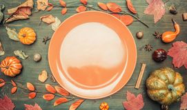 Autumn composition, yellow leaves, small pumpkins lined around brown plate, space for text flat lay stock image