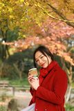 Anonymous woman enjoying takeaway coffee cup on sunny cold fall day sit under tree. Autumn concept, anonymous woman enjoying takeaway coffee cup on sunny cold royalty free stock images