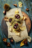 Autumn concept with Chestnuts and leaves Royalty Free Stock Photo
