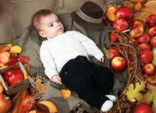 Autumn concept - child boy lie on yellow leaves with fruits and vegatbles, red apples and pumpkins royalty free stock photo