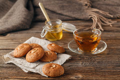 Autumn Concept. Cup Of Tea Or Coffee. Cookies With Seeds. Wooden Stock Images