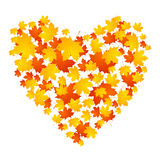 Autumn concept heart from maple leaves Stock Images