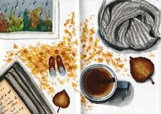 Autumn concept mix painting with warm home atmosphere Royalty Free Stock Photos