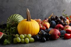 Autumn concept with seasonal fruits and vegetables Royalty Free Stock Photo