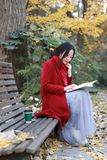 Young asian sensual woman reading a book sit bench in romantic autumn scenery.Portrait of pretty young girl in autumnal forest stock photography