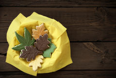 Autumn Cookies in a Bowl Royalty Free Stock Images