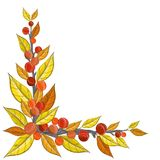Autumn corner decoration with berry, branch and leaf. Autumn corner decoration with red, yellow and orange berry, leaf and branch. Drawing, decorated with dots Royalty Free Stock Photos