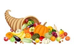 Autumn cornucopia (horn of plenty) with fruits and. Autumn cornucopia with various fruits and vegetables isolated on white Stock Photography