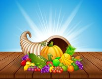 Autumn cornucopia with vegetables and fruits on wooden table stock illustration