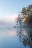 Autumn Council Lake in Fog Royalty Free Stock Photos