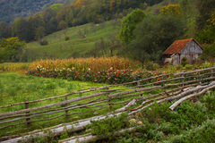 Autumn in countrside in Romania. Beautiful autumn landscape in village, Romania Stock Photography