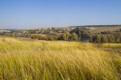 Autumn country hilly landscape Royalty Free Stock Photos