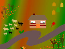 Autumn country landscape illustration Royalty Free Stock Image