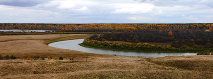 Autumn Country landscape. With river Nitsa Stock Photography
