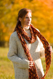 Autumn country sunset -  red hair woman Stock Photography
