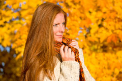 Autumn country sunset - red hair woman Royalty Free Stock Images