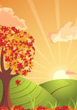 Autumn countryside atmosphere. Vector illustration of the sunset in highlands. The autumn is coming Royalty Free Stock Image