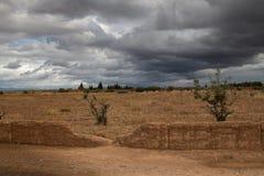 Autumn Countryside con le nuvole, Marocco Fotografia Stock Libera da Diritti
