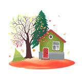 Autumn countryside. Illustration with rustic house, seasonal trees, fall leaves. Watercolor imitation in vector. Each object is separately, easy to edit Stock Images