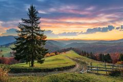 Free Autumn Countryside In Mountain At Dusk Stock Images - 153237404