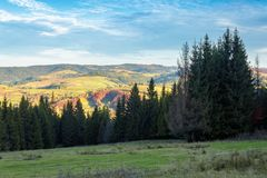 Autumn countryside landscape in mountains. Rural fields on the distant hills in evening light. cloudscape on a blue sky above the distant ridge. spruce forest stock photo