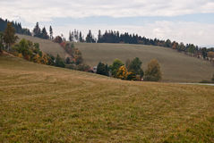 Autumn countryside near Karlovice village in Jeseniky Royalty Free Stock Photo