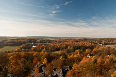 Autumn countryside panorama from lookout on Barenstein hill in Plauen Stock Images