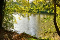 Autumn Countryside View Of A Channeled River Bank. During A Sunny Day royalty free stock images