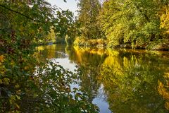 Autumn Countryside View Of A Channeled River Bank. At A Sunny Day stock images