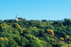 Autumn countryside with village church Royalty Free Stock Photography