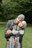 Autumn couple. Young couple in autumn outdoor beein romantic stock images