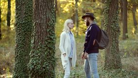 Autumn couple with autumnal mood. Hello autumn. Time for fashion sale. Autumnal vogue trend. Young hippie couple on