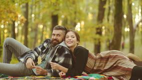 Autumn couple in love. Young tender lover enjoys touching soft skin of sensual girl. Human emotions youth love and. Lifestyle concept. Beautiful young couple stock footage