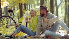 Autumn Couple rom?ntico en amor Cople joven feliz en parque en día soleado del otoño Viaje al aire libre de las vacaciones del d? almacen de video