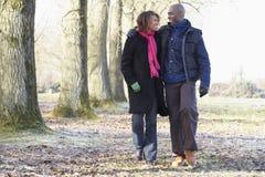 autumn couple walk Στοκ Εικόνες
