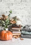Autumn cozy home still life. Pumpkin, dry branch pitcher, stack of books, pile of winter autumn sweaters,  teddy bear on the