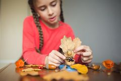 Autumn Craft With Kids. Children`s Cute Boat With Man Made Of Natural Materials. Process Of Creating Royalty Free Stock Photography